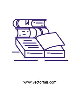 set of textbooks supplies isolated icon
