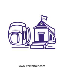 school building with school bag isolated icon