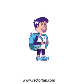 cute little student boy with bag school