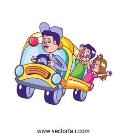 bus school transportation with driver and students over white