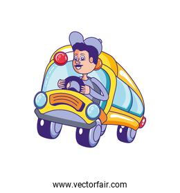 bus school transportation with driver isolated icon