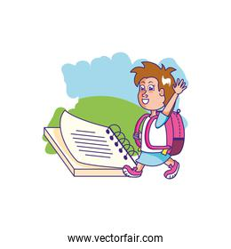 cute little student girl with notebook school