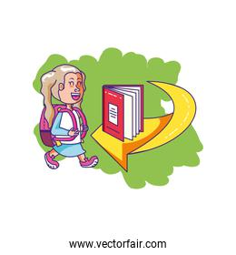 little student girl with school bag and book in arrow