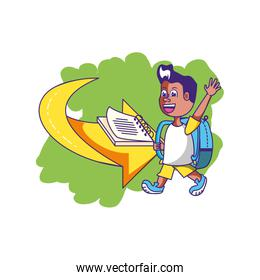 cute little student boy with bag school and book in arrow