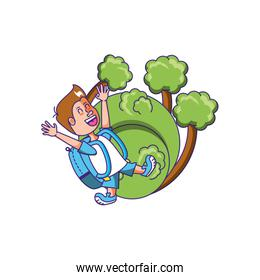 cute little student boy with bag school and tree plants