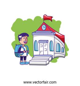 cute little student boy with bag education and school building