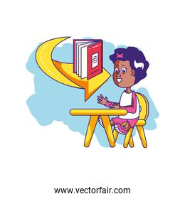 little student girl sitting in school desk with book and arrow