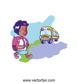little student girl with bag education and bus transportation