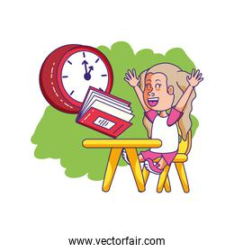 little student girl sitting in school desk with book and clock