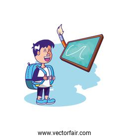 little student boy with bag school and board classroom