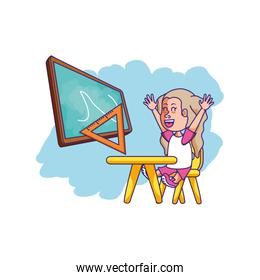 student girl sitting in school desk with board classroom