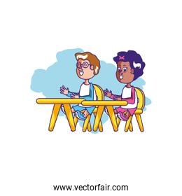 students seated in school desks characters