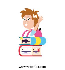 cute little student girl with school bag and stack books