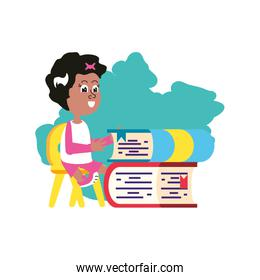 student girl sitting in chair with stack books