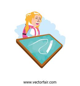 little student girl with bag school and board classroom