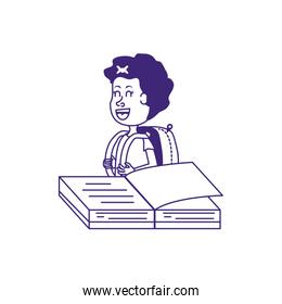 cute little student girl with book open, line style icon
