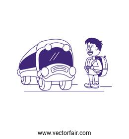 little student boy with bag education and bus transportation