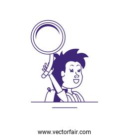cute little student girl with magnifying glass