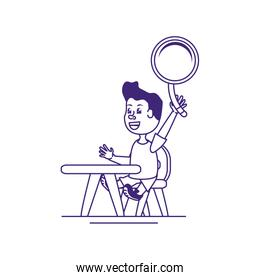 little student boy with magnifying glass in school desk