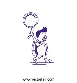 cute little student boy with magnifying glass