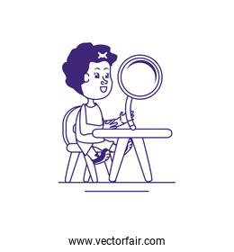 little student girl with magnifying glass in school desk