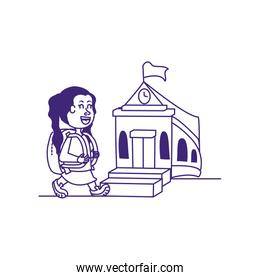 little student girl with school building
