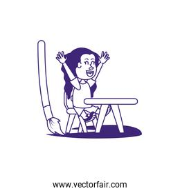 cute little student girl with paint brush and school desk