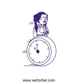 cute little student girl with school bag and clock
