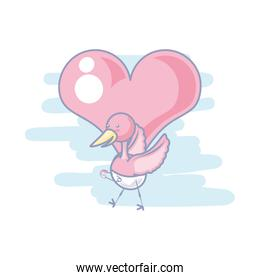 cute stork animal with diaper and heart