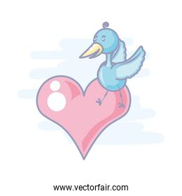 cute stork animal in heart isolated icon