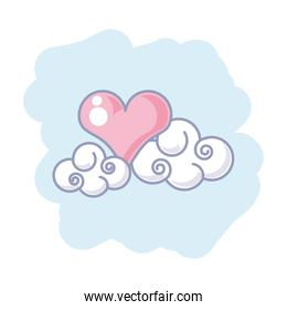 cute clouds nature with heart love