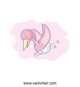 cute stork flying with diaper isolated icon