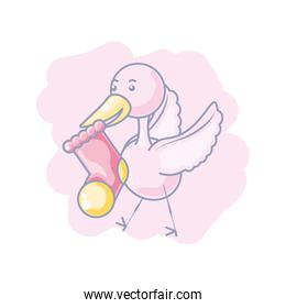 cute sock baby with stork flying