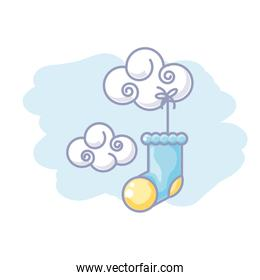 cute cloud nature with sock baby hanging