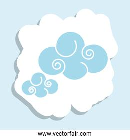 cute clouds nature isolated icon