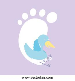 cute stork with diaper and footprint baby
