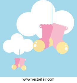 cute cloud with sock baby hanging