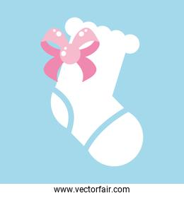 cute sock baby with bow ribbon