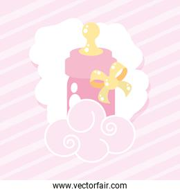 pretty bottle milk baby with bow ribbon and cloud
