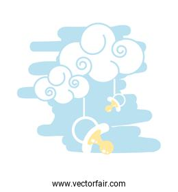cloud with pacifier baby hanging