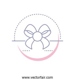 cute bow ribbon isolated icon