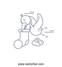 cute stork animal flying with sock