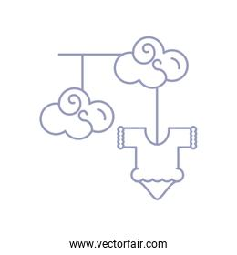 cute clothes for baby hanging with clouds linear style