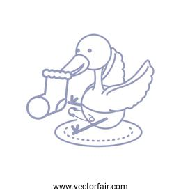 cute stork animal with diaper and sock baby