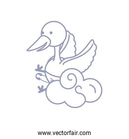 cute stork animal with diaper and cloud