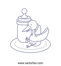 cute stork animal with diaper and bottle milk baby