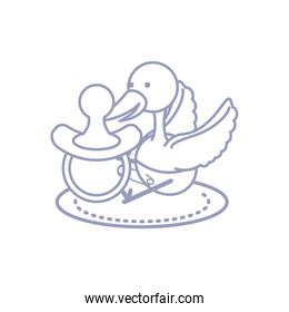 cute stork animal with diaper and pacifier baby