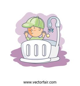 baby boy in cute crib avatar character