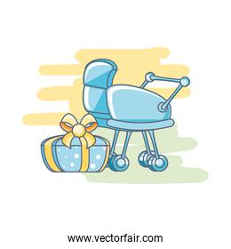 pretty  baby cart with gift box present