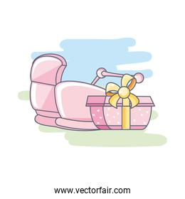 cute baby cart with gift box present